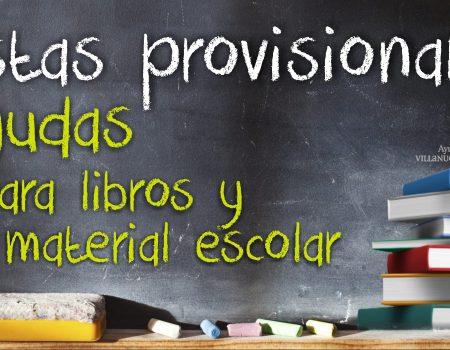 Publicada la lista provisional de beneficiarios de ayudas para libros y material escolar
