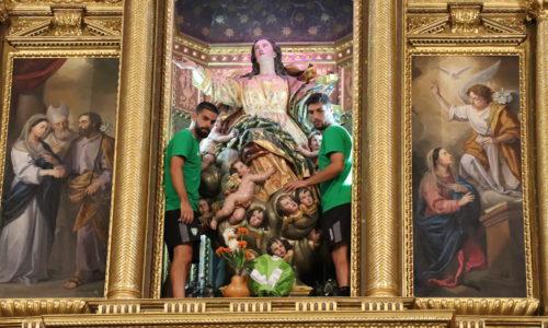 El CF Villanovense realiza su tradicional ofrenda floral de agosto