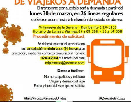El transporte de viajeros por autobús en la línea Villanueva – Don Benito, será a demanda