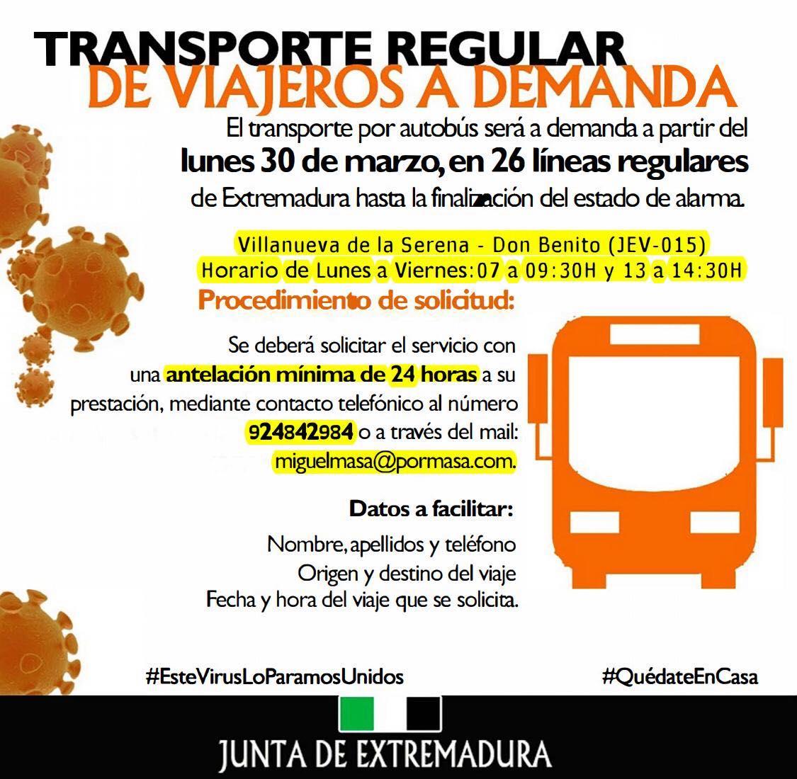 El transporte de viajeros por autobús en la línea Villanueva - Don Benito, será a demanda